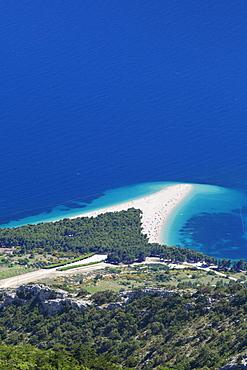 View from Vidova Gora on the town of Bol, Zlatni Rat or Golden Horn, island of Brac, Dalmatia, Croatia, Europe