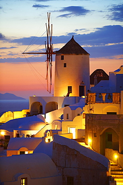 Windmill at sunset, Oia, Santorini, Cyclades, Greece, Europe