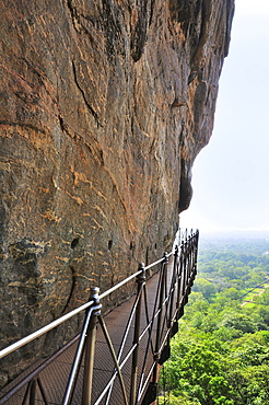 Iron nridge on the steep face of the Lion Rock, Sigiriya, UNESCO World Heritage Site, Sigiriya, Central Province, Sri Lanka, Asia