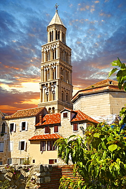Bell tower of the Cathedral of Saint Domnius, Split, Croatia, Europe
