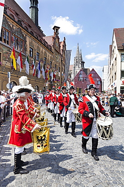 Parade on Marktplatz square in front of the Town Hall and Ulm Cathedral, Fischerstechen or water jousting festival, Ulm, Baden-Wurttemberg, Germany, Europe