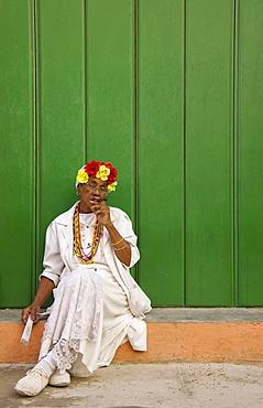 Local woman posing with a cigar, Havana, Cuba, Central America