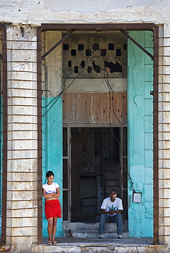 Run down facade, Old Havana, Havana, Cuba, Central America