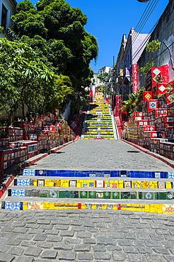 Escadaria Selaron steps in Lapa, Rio de Janeiro, Brazil, South America