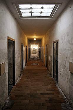 Corridor in a jail, bunker with celldoors, Dachau Concentration Camp, Dachau, near Munich, Bavaria, Germany, Europe