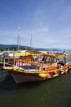 Colourful excursion boats, Paraty, Costa Verde, State of Rio de Janeiro, Brazil, South America