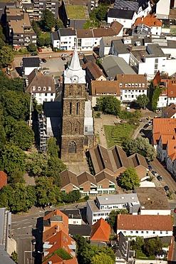 Aerial view, steeple of Marienkirche or St. Mary's church in Minden, Minden-Luebbecke, North Rhine-Westphalia, Germany, Europe