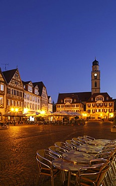 Marketplace with the Zwillingshaeuser twin houses and the tower of the Cathedral of St. John Baptist, Bad Mergentheim, Tauber Valley, Hohenlohe, Baden-Wuerttemberg, Germany, Europe
