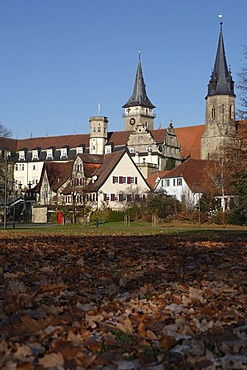 Oehring Castle in front of the Collegiate Church of St. Peter and Paul with the Blasturm tower, Oehringen, Hohenlohe, Baden-Wuerttemberg, Germany, Europe