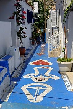 Narrow street in the port city of Pythagorio, Samos Island, Aegean Sea, southern Sporades islands, Greece, Europe