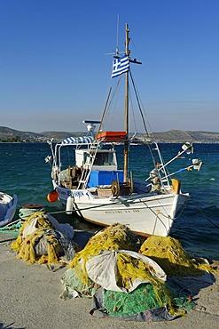 Fishing boat in the harbor of Ireon Iraio Samou, Samos island, southern Sporades, Aegean sea, Greece, Europe