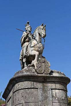 Sao Longuinhos equestrian statue, Bom Jesus do Monte Sanctuary, Braga, Minho, Portugal, Europe