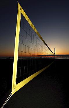 Volleyball net on the beach, Ahrenshoop, Baltic Sea, Mecklenburg-Western Pomerania, Germany, Europe