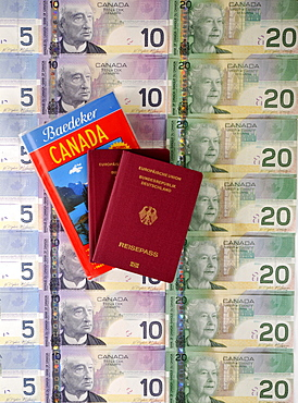 Passport of the Federal Republic of Germany, guide book for Canada, various Canadian dollar banknotes