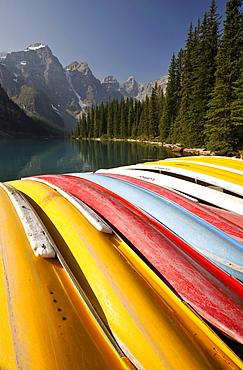 Canoes on Moraine Lake, Valley of the Ten Peaks, Banff National Park, Canadian Rockies, Alberta, Canada