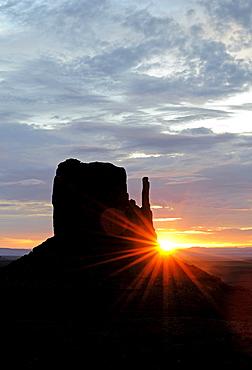 West Mitten Butte at sunrise, Monument Valley, Arizona, USA