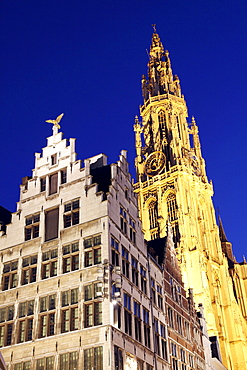 Guild house, gabled house, ornate facade, golden figure on the pointed gable, Grote Markt, historic centre of Antwerp, Flanders, Belgium, Europe
