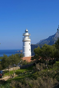 Lighthouse at Cap Gros, Port de Soller, Majorca, Balearic Islands, Spain, Europe