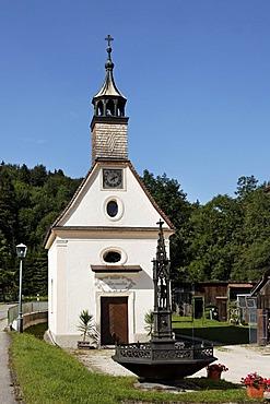 Chapel of Maria Schnee, Achthal valley near Teisendorf, Rupertiwinkel, Chiemgau, Upper Bavaria, Bavaria, Germany, Europe, PublicGround