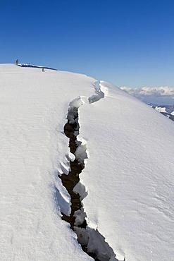 Breaking snow on Alp Spicher Mountain, Canton of St. Gallen, Switzerland, Europe