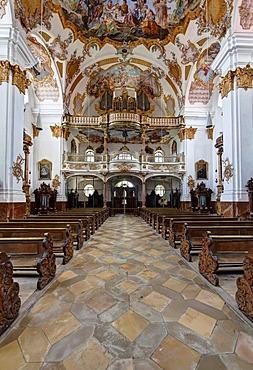 Inner hall with frescoes by C. Thomas Scheffler, Heilig-Kreuz-Kirche church, Landsberg am Lech, Bavaria, Germany, Europe