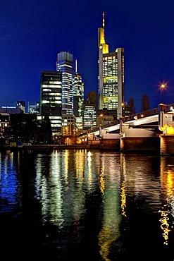 Commerzbank, Hessische Landesbank, European Central Bank at night, Frankfurt am Main, Hesse, Germany, Europe, PublicGround