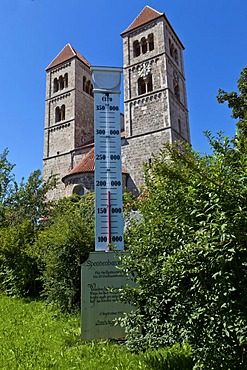 Fund raising or donations barometer in front of St. Michael's basilica, 1180, late Romanesque tufa stone building, Altenstadt, Upper Bavaria, Bavaria, Germany, Europe, PublicGround