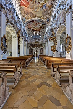 Interior view, the magnificent parish church of St. John the Baptist, old Premonstratensian abbey church, Steingaden, Upper Bavaria, Bavaria, Germany, Europe