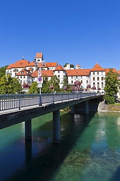 The monastery of St. Mang, a former Benedictine monastery in the diocese of Augsburg, Lech river, Fuessen, East Allgaeu, Swabia, Bavaria, Germany, Europe, OeffentlicherGrund