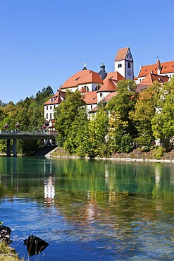 The monastery of St. Mang, a former Benedictine monastery in the diocese of Augsburg, Lech river, Fuessen, Ostallgaeu, Allgaeu, Swabia, Bavaria, Germany, Europe, PublicGround