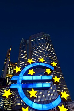 Euro symbol in front of the ECB building, European Central Bank, at night, Frankfurt am Main, Hesse, Germany, Europe