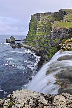 Drifandi waterfall, Drifandisbjarg, east coast of Hornstrandir, Westfjords, Iceland, Europe