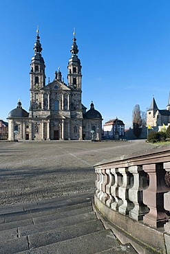 Fulda Cathedral, built by Johann Dientzenhofer, 1704 - 1712, with the Romanesque Chapel of St. Michael, Fulda, Hesse, Germany, Europe
