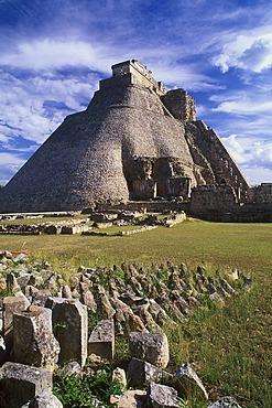 Pyramid of the Soothsayers, Puuc Mayan ruins of Uxmal, Yucatan, Mexico, North America