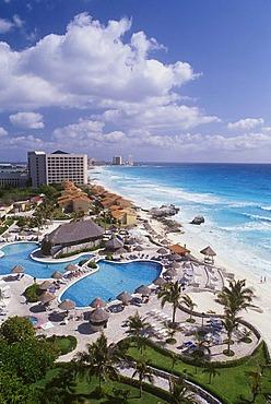 Hotel, beach of Cancun, Caribbean, Quintana Roo, Yucatan Peninsula, Mexico, North America