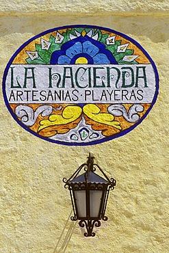 La Hacienda, sign of handicraft shop, Playa del Carmen, Quintana Roo, Yucatan Peninsula, Mexico, North America