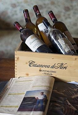 Bottles of Brunello di Montalcino red wine, Casanova di Neri Winery, Toscana, Tuscany, Italy, Europe