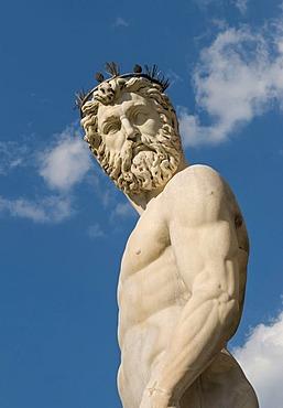 Neptune statue, Fountain of Neptune, Piazza della Signoria, Firenze, Florence, Toscana, Tuscany, Italy, Europe