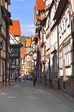 Half-timbered houses, historic town centre, Hannoversch Muenden, Lower Saxony, Germany, Europe