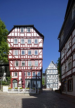 Half-timbered house, Schlosstreppe, Upper Town, Marburg, Hesse, Germany, Europe, PublicGround