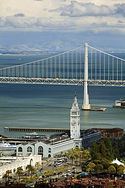 View from Coit Tower over San Francisco Bay with the Oakland Bay Bridge and the Ferry Building, San Francisco, California, USA