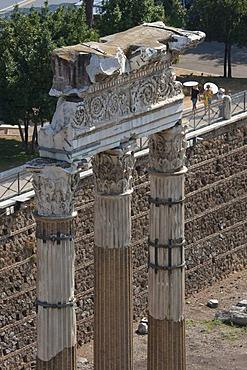 View from Capitoline Hill on columns of the Forum Julius Caesar, Forum Romanum, Roman Forum, Rome, Italy, Europe