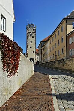 Bayertor gate tower, Alte Bergstrasse street, Landsberg am Lech, Bavaria, Germany, Europe