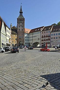 Main square with Schmalzturm tower, Landsberg am Lech, Bavaria, Germany, Europe