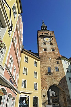 Main square with facades and Schmalzturm tower, Landsberg am Lech, Bavaria, Germany, Europe