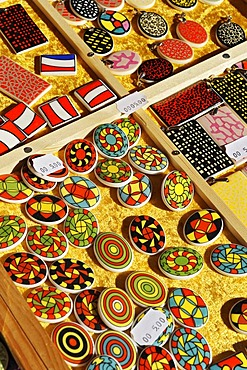 Colourful ceramic buttons and pendants, Auer Dult market, Munich, Bavaria, Germany, Europe