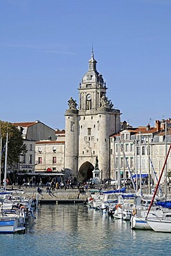 Boats, Porte de la Grosse Horloge, city gate, port, promenade, La Rochelle, Charente-Maritime, Poitou-Charentes, France, Europe, PublicGround
