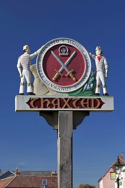 Thaxted town sign with Morris dancers, Thaxted, Essex, England, United Kingdom, Europe