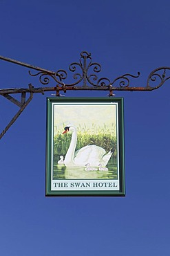 The Swan hotel sign, a traditional hotel and pub in the historic Essex market town of Thaxted, England, United Kingdom, Europe