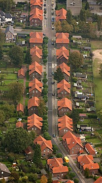 Aerial view, colliery settlement, miners' houses, Ludwig-Richter-Strasse, Bottrop, Ruhr Area, North Rhine-Westphalia, Germany, Europe